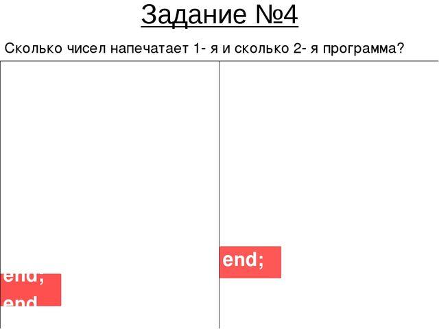 Задание №4 Сколько чисел напечатает 1- я и сколько 2- я программа? 1-я прогр...