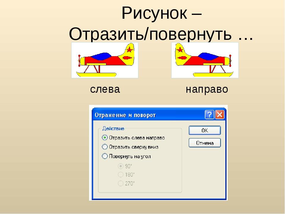 Рисунок – Отразить/повернуть … слева направо