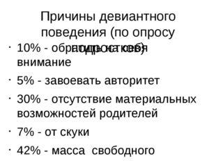 Причины девиантного поведения (по опросу подростков) 10% - обратить на себя в