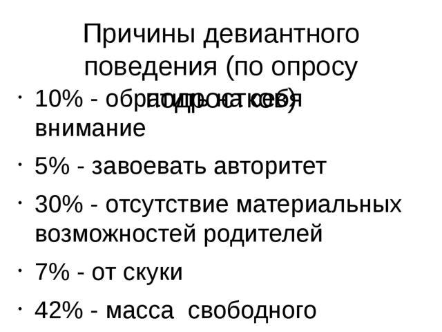 Причины девиантного поведения (по опросу подростков) 10% - обратить на себя в...