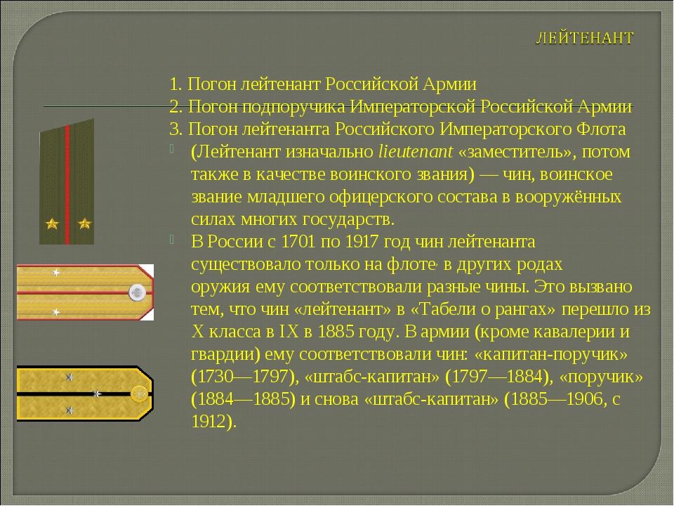 1. Погон лейтенант Российской Армии 2. Погон подпоручика Императорской Россий...