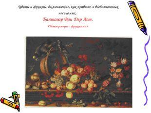 Цветы и фрукты, включающие, как правило, и всевозможных насекомых. Балтазар В