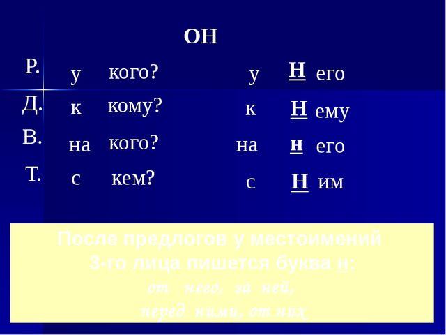 После предлогов у местоимений 3-го лица пишется буква н: от него, за ней, пер...