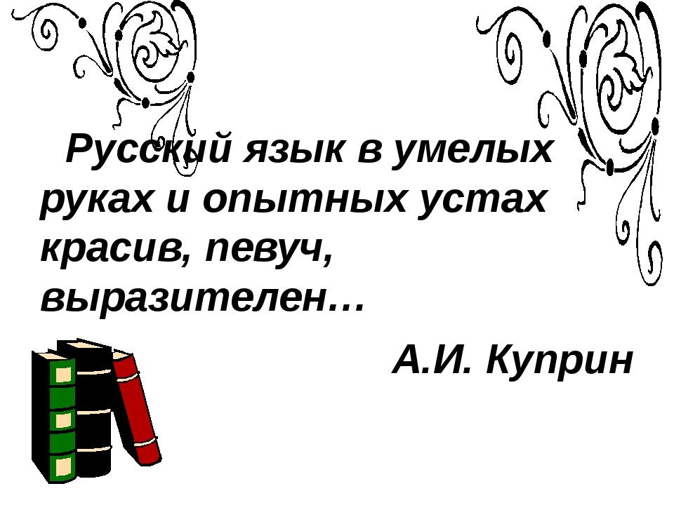 Русский язык в умелых руках и опытных устах красив, певуч, выразителен… А.И....
