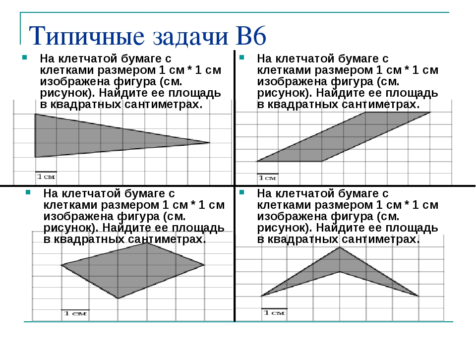 Типичные задачи В6 На клетчатой бумаге с клетками размером 1 см * 1 см изобра...