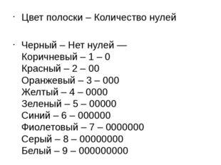 Цвет полоски – Количество нулей Черный – Нет нулей — Коричневый – 1 – 0 Красн
