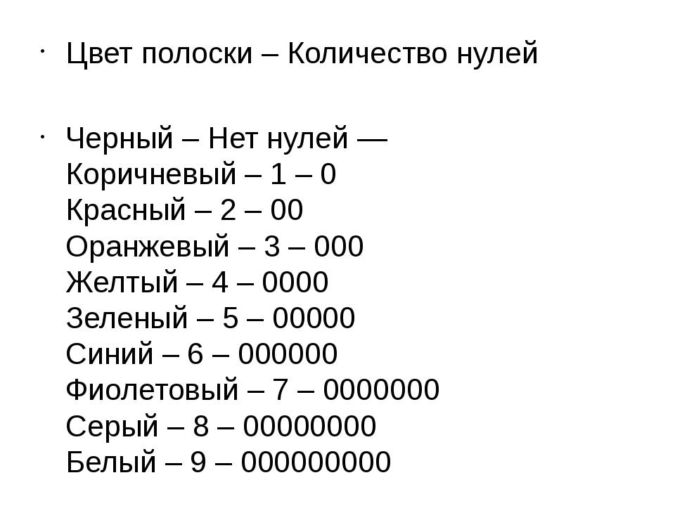 Цвет полоски – Количество нулей Черный – Нет нулей — Коричневый – 1 – 0 Красн...