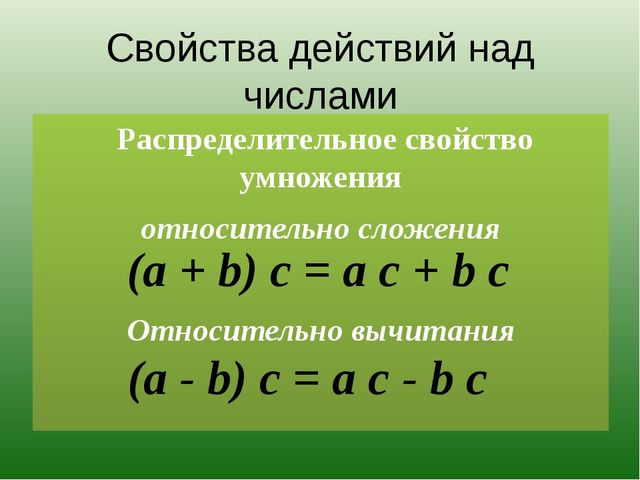 Свойства действий над числами Распределительное свойство умножения относитель...