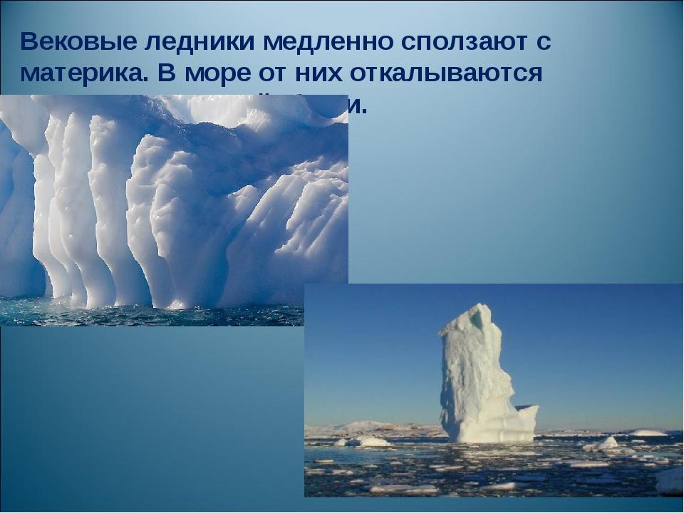 Вековые ледники медленно сползают с материка. В море от них откалываются ледя...