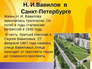 Н. И.Вавилов в Санкт-Петербурге Жизнь Н. И. Вавилова закончилась трагически.