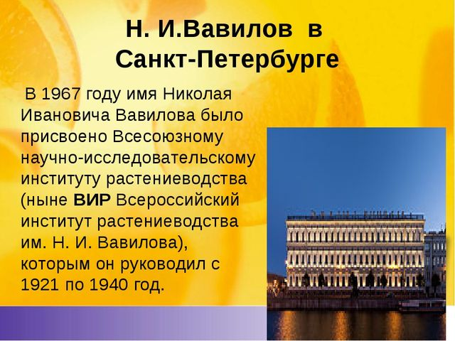 Н. И.Вавилов в Санкт-Петербурге В 1967 году имя Николая Ивановича Вавилова бы...