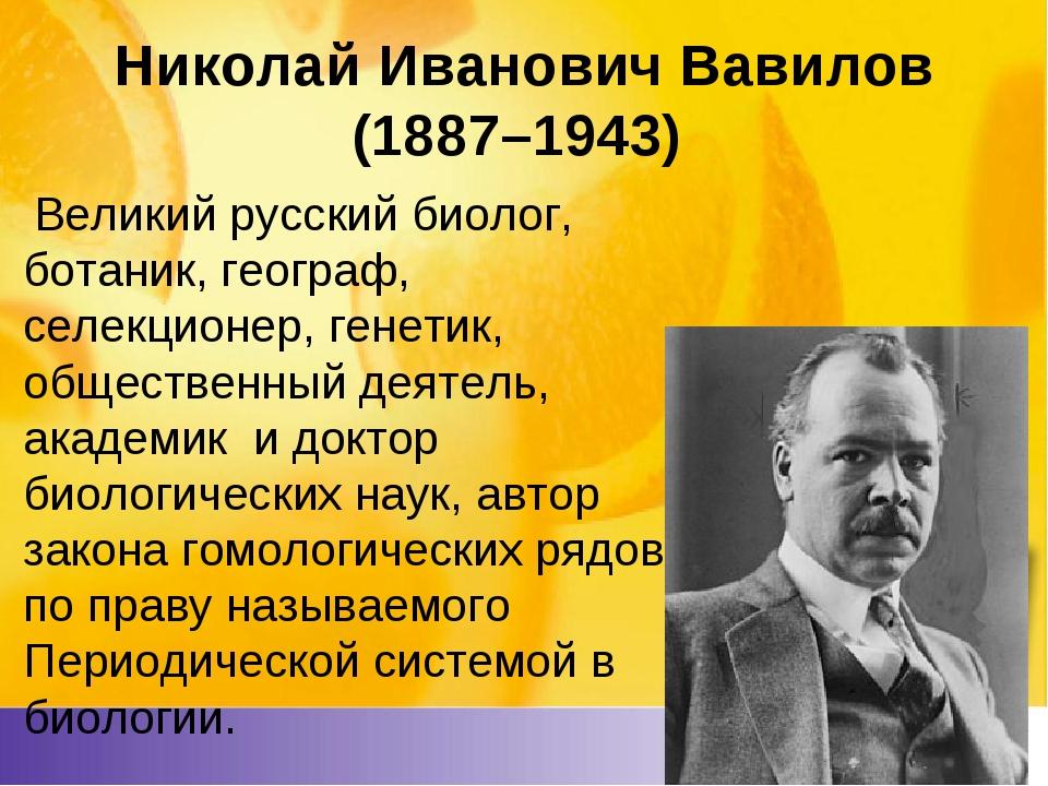 Николай Иванович Вавилов (1887–1943) Великий русский биолог, ботаник, геогра...