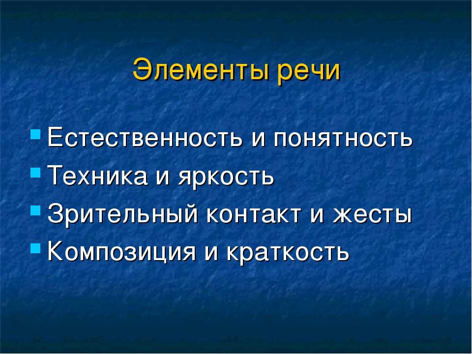 Элементы речи Естественность и понятность Техника и яркость Зрительный контак...