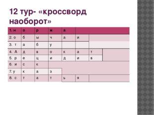 12 тур- «кроссворд наоборот» 1.н о р м а 2. о б ы ч а и 3. т а б у 4. А д в о