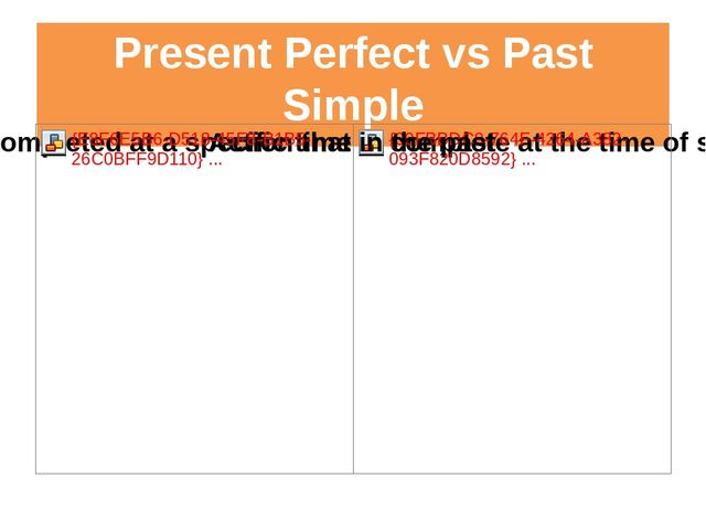 Present Perfect vs Past Simple have+3rd form 2nd form