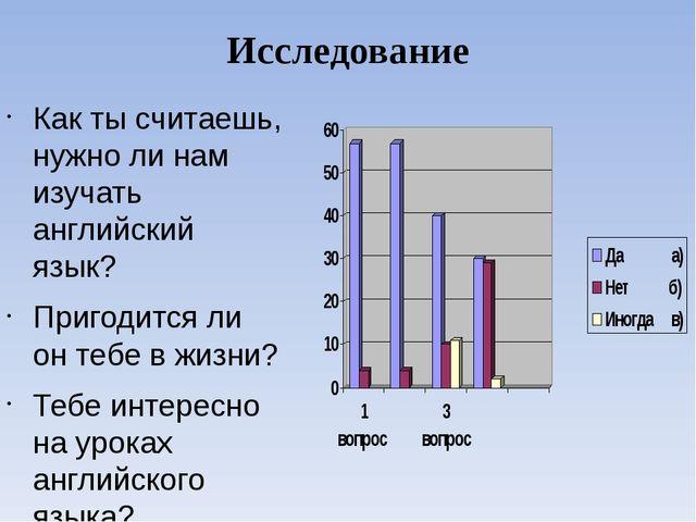 Исследование Как ты считаешь, нужно ли нам изучать английский язык? Пригодитс...
