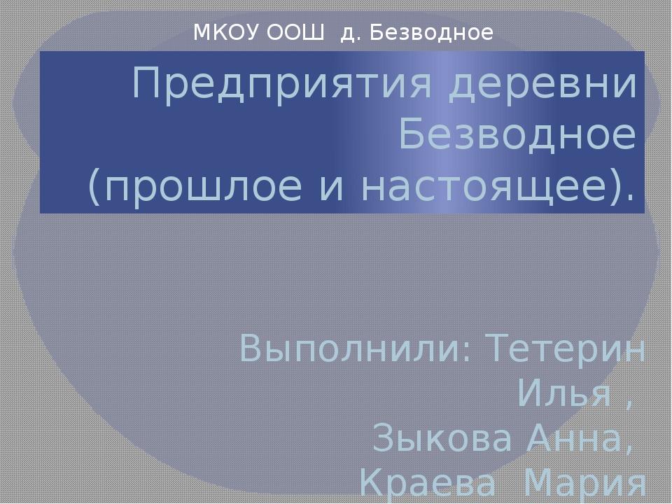 Предприятия деревни Безводное (прошлое и настоящее). Выполнили: Тетерин Илья...