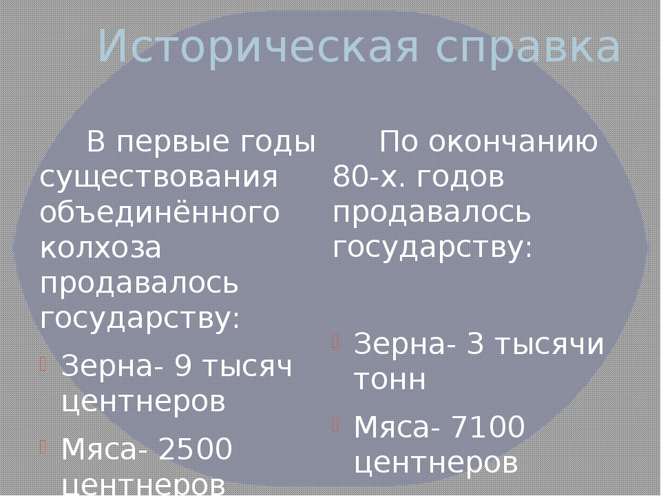 Историческая справка В первые годы существования объединённого колхоза продав...