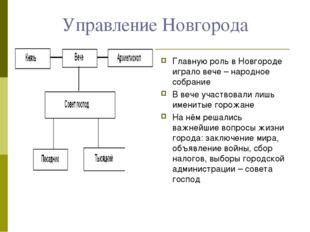 Управление Новгорода Главную роль в Новгороде играло вече – народное собрание
