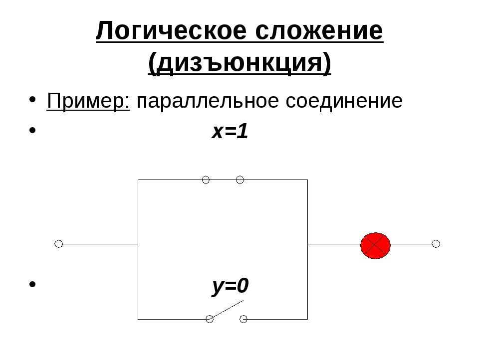 Логическое сложение (дизъюнкция) Пример: параллельное соединение x=1 y=0