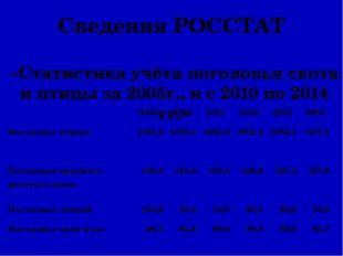 Сведения РОССТАТ «Статистика учёта поголовья скота и птицы за 2005г., и с 201