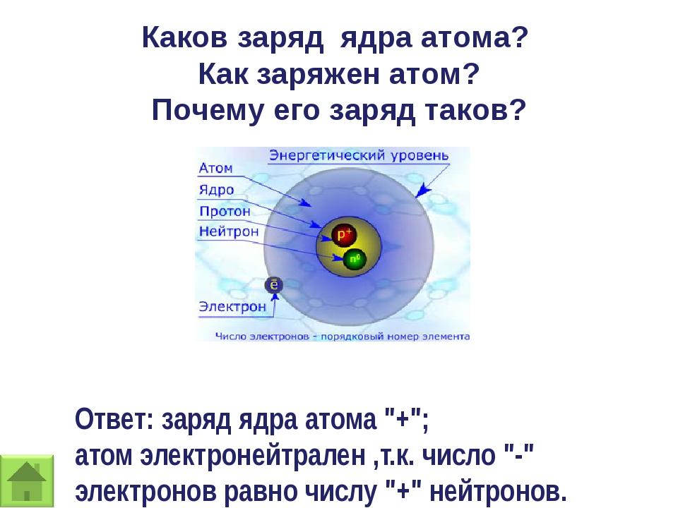 Каков заряд ядра атома? Как заряжен атом? Почему его заряд таков? Ответ: заря...