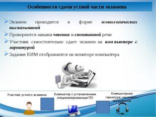 Экзамен проводится в форме монологических высказываний Проверяются навыки чте