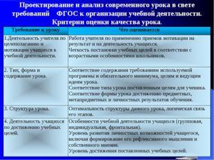 Проектирование и анализ современного урока в свете требований ФГОС к организ