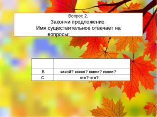 Вопрос 2. Закончи предложение. Имя существительное отвечает на вопросы:______