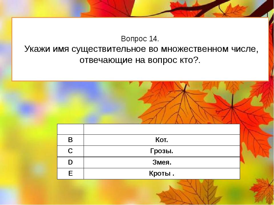Вопрос 14. Укажи имя существительное во множественном числе, отвечающие на во...