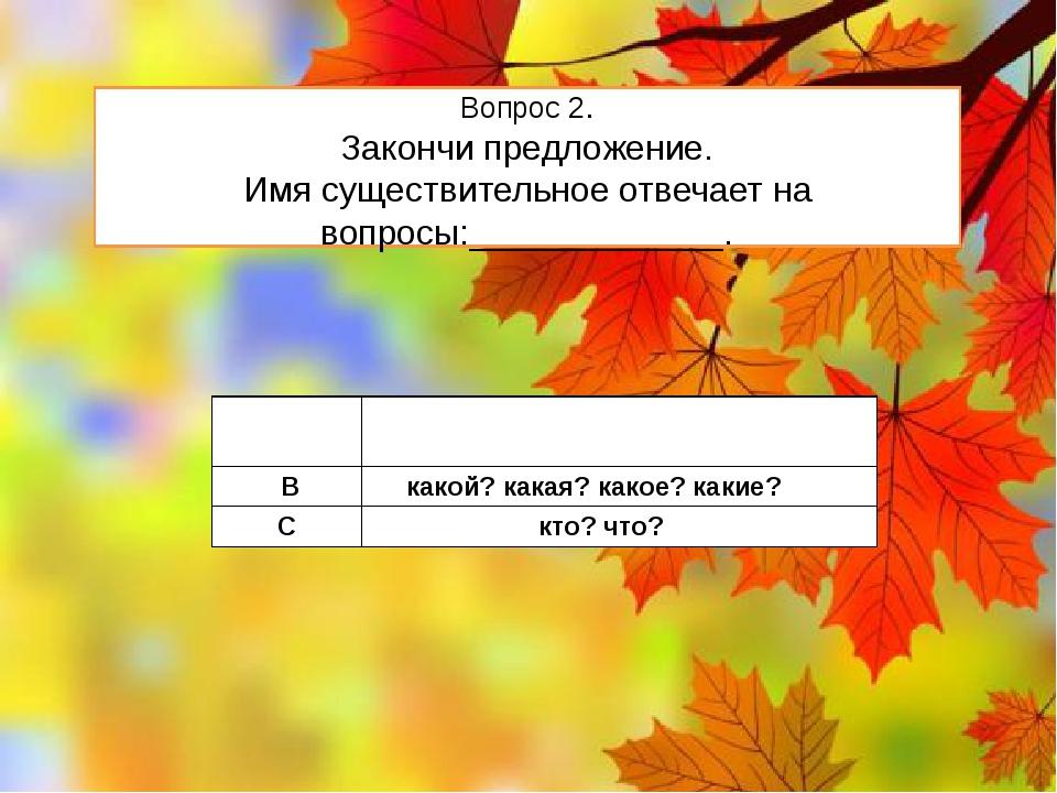 Вопрос 2. Закончи предложение. Имя существительное отвечает на вопросы:______...