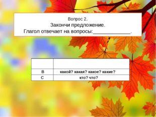 Вопрос 2. Закончи предложение. Глагол отвечает на вопросы:_____________. А чт