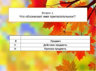 Вопрос 1. Что обозначает имя прилагательное? А Признакпредмета. В Предмет. C