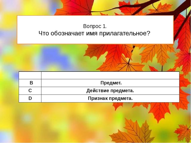 Вопрос 1. Что обозначает имя прилагательное? А Признакпредмета. В Предмет. C...