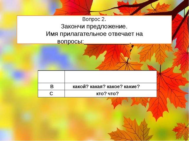 Вопрос 2. Закончи предложение. Имя прилагательное отвечает на вопросы:_______...