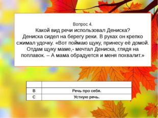 Вопрос 4. Какой вид речи использовал Дениска? Дениска сидел на берегу реки. В