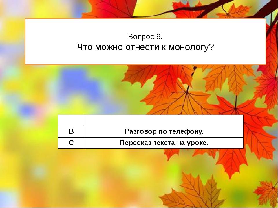Вопрос 9. Что можно отнести к монологу? A Беседатоварищей. B Разговорпо телеф...