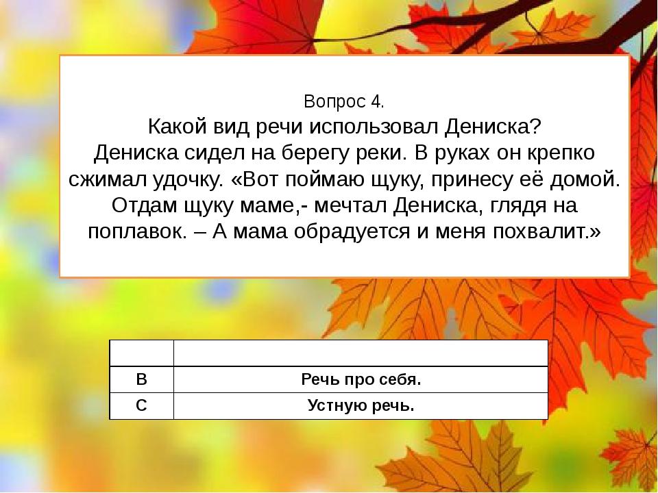 Вопрос 4. Какой вид речи использовал Дениска? Дениска сидел на берегу реки. В...