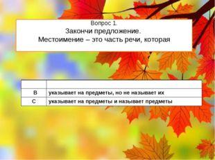 Вопрос 1. Закончи предложение. Местоимение – это часть речи, которая А обозна