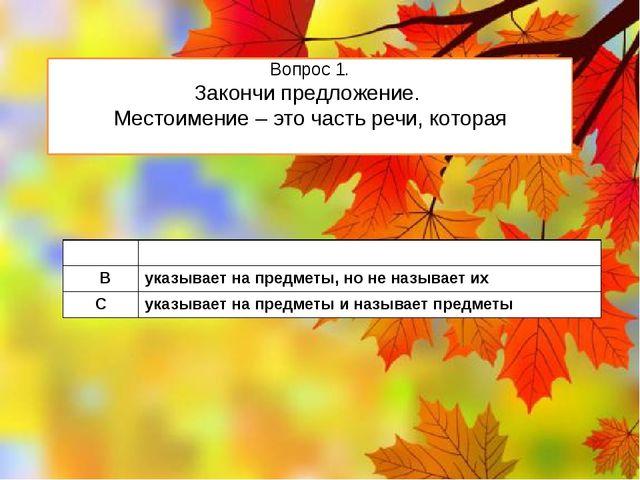 Вопрос 1. Закончи предложение. Местоимение – это часть речи, которая А обозна...