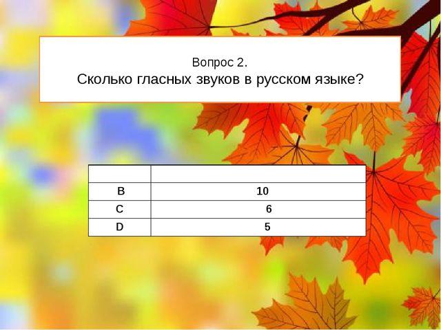 Вопрос 2. Сколько гласных звуков в русском языке? А 4 В 10 C 6 D 5
