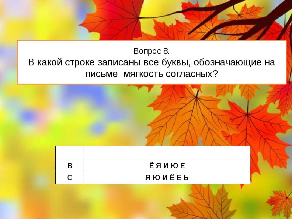 Вопрос 8. В какой строке записаны все буквы, обозначающие на письме мягкость...