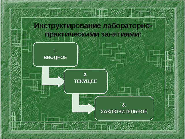 Инструктирование лабораторно- практическими занятиями: