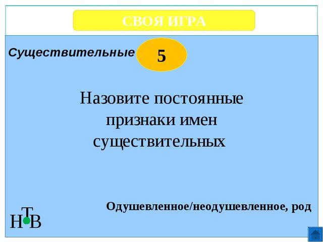 СВОЯ ИГРА Н Т В 1 Действие предмета Что обозначают глаголы? Глаголы