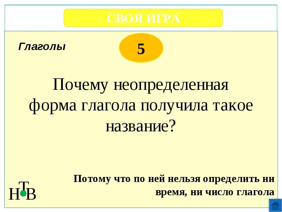 СВОЯ ИГРА Н Т В 5 С помощью вопросов Правила Проверить правописание букв глас...