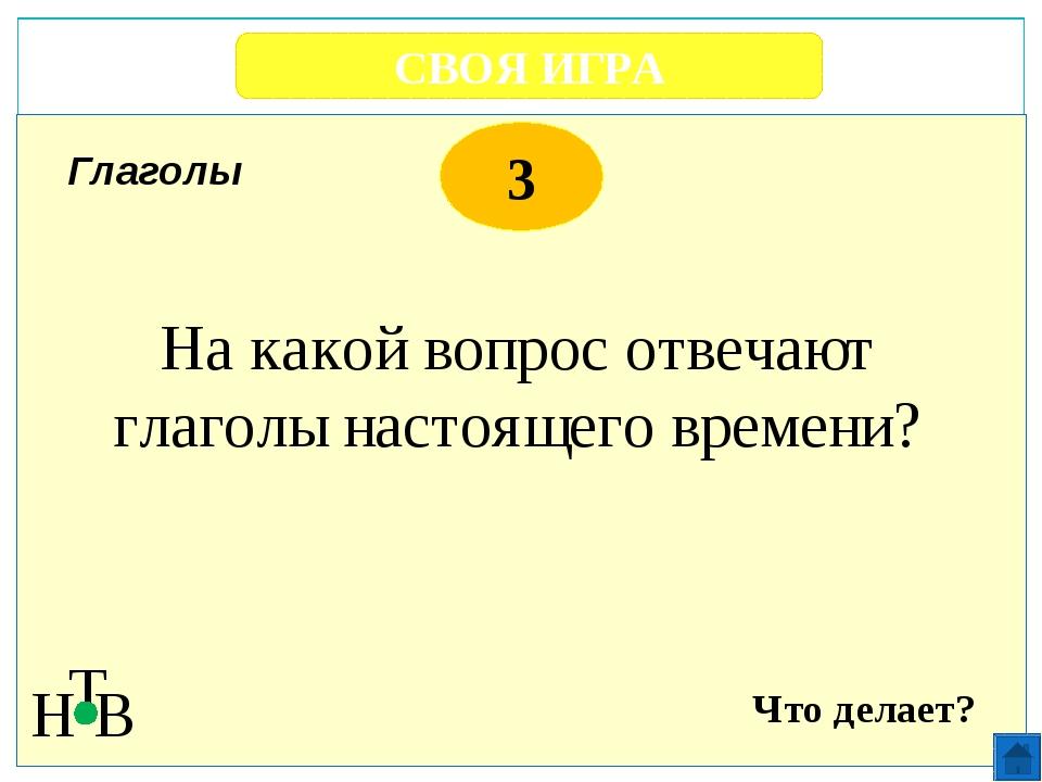 СВОЯ ИГРА Н Т В 3 «ч» пишется «ь» В неопределенной форме глаголов после буквы...