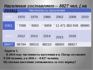 Задача 1. В 2014 году численность населения в п. Погар составляет 9210 чел