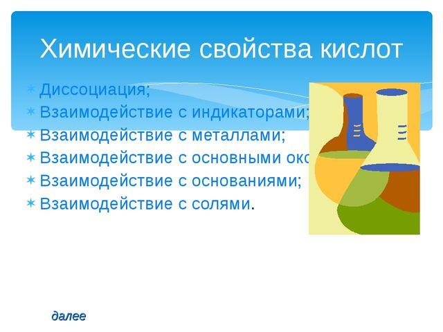 Диссоциация; Взаимодействие с индикаторами; Взаимодействие с металлами; Взаим...