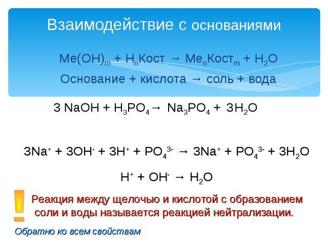 Ме(ОН)m + НnКост → MenКостm + H2O Основание + кислота → соль + вода Взаимодей...