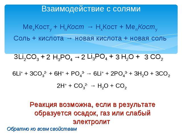 Взаимодействие с солями МеxКостy + HnКост → HхКост + МеnКостy Соль + кислота...